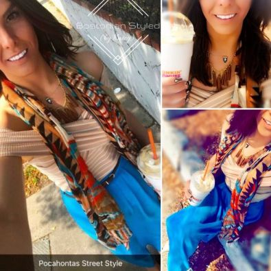 Street Style, Fashion, Style, Outfit Idea, Summer Style, Outfit Inspiration, Bostonian Styled (by Katey), White and Beige Off-the-Shoulder Bandage Blouse, Turquoise Blue Maxi Skirt TJ Maxx, Gold and Brown Leather Tassel Statement Necklace, Brown Orange and Blue Aztec Print Scarf, Nude Pointed-Toe Heels A.N.A JCPenney