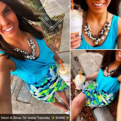 Street Style, Fashion, Style, Outfit Idea, Summer Style, Outfit Inspiration, Bostonian Styled (by Katey), White and Neon Floral Print Pencil Skirt Charlotte Russe, Turquoise Blue Ruffle Tank Merona Target, Silver Pearl Statement Necklace Forever 21, Metallic Silver Pointed-Toe Heels Primark
