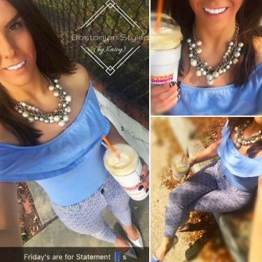Street Style, Fashion, Style, Outfit Idea, Summer Style, Outfit Inspiration, Bostonian Styled (by Katey), Powder Blue Ruffle Off-The-Shoulder Body Suit Primark, Blue and White Statement Pants Primark, Silver Pearl Statement Necklace Forever 21, Metallic Silver Pointed-Toe Heels Primark