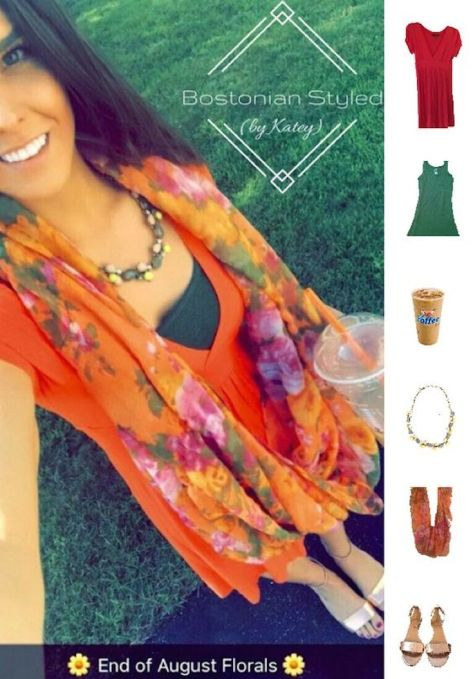 Street Style, Fashion, Style, Outfit Idea, Summer Style, Outfit Inspiration, Bostonian Styled (by Katey), Orange V-Neck T-Shirt Dress Forever 21, Military Green Crew Neck T Merona at Target, Rose Gold Metallic Wedge Sandals J. Crew, Olive Orange and Light Pink Floral Print Scarf Charming Charlie's, Neon Yellow Olive and Light Pink Statement Necklace J Crew