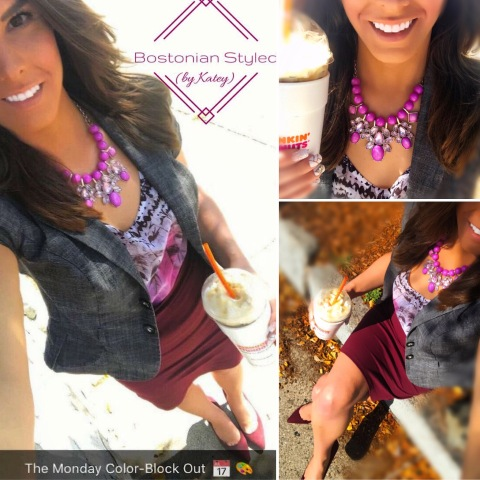 Street Style, Fashion, Style, Outfit Idea, Summer Style, Outfit Inspiration, Bostonian Styled (by Katey), Floral Purple Blouse, Burgundy Pencil Skirt Charlotte Russe, Orchid Purple Statement Necklace Charming Charlie's, Cap-Sleeve Grey Blazer Macy's, Burgundy Pointed-Toe Heels Primark, Color-Blocking
