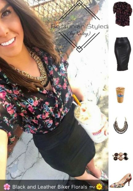 Street Style, Fashion, Style, Outfit Idea, Summer Style, Outfit Inspiration, Bostonian Styled (by Katey), Black and Gold Braided Metal Statement Necklace Amazon Fashion, Black Faux Leather Pencil Skirt Amazon Fashion, Floral Print Pointed-Toe Heels Nine West, Black Floral Print Collar Shirt Charlotte Russe, Black White and Gold Bubble Statement Bracelet Charming Charlie's