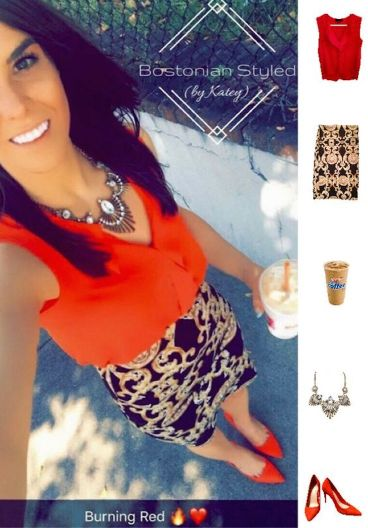 Street Style, Fashion, Style, Outfit, Outfit Idea, Outfit Inspiration, Bostonian Styled (by Katey), Red Chiffon Sleeveless Blouse Primark, Black and Gold Pattern Pencil Skirt Charlotte Russe, Red Pointed-Toe Heels Primark, Chucky Gold Statement Necklace Amazon Fashion, Colorblocking