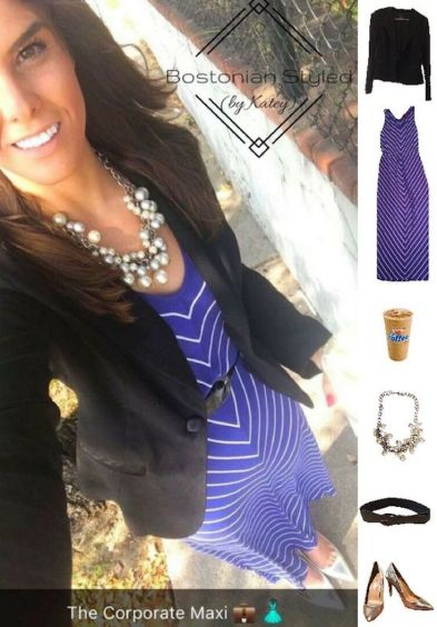 Street Style, Fashion, Style, Outfit, Outfit Idea, Outfit Inspiration, Bostonian Styled (by Katey), Blue and White Chevron Maxi Dress, Black Blazer, Chunky Pearl Statement Necklace, Silver Metallic Pointed Toe Heels, Work Look, Color Blocking